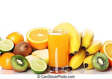 glas, van, vers fruit, sap