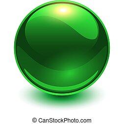 glas, vector, groene, bol, ball., glanzend