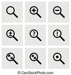 glas, vektor, satz, vergrößern, ikone