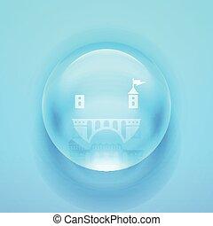 glas, vektor, sphere.