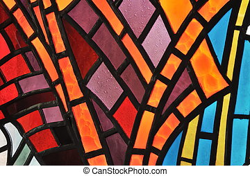 glas venster, bevlekte, -, kerk