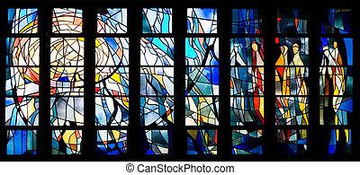 glas venster, bevlekte