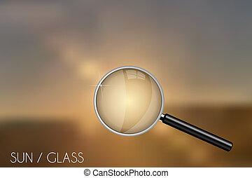 glas, vergrößern, hintergrund, verwischt