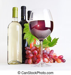 glas, vin flaskor, och, druvor