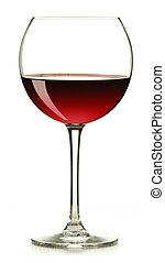 glas, vit, isolerat, röd vin