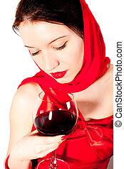 glas, vrouw, rode wijn