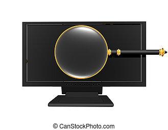 glas, weißes, vergrößern, monitor, freigestellt