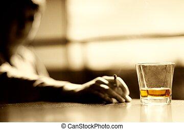 glas, whisky, zigarre, mann- rauchen