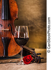 glas wijn, oud, rood, viool