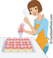 glaseado, cupcake