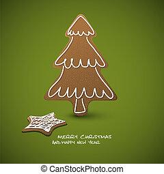 glaseado, gingerbreads, -, vector, navidad blanca, tarjeta