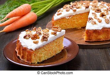 glaseado, nuez, torta de la zanahoria, adornado, pedazo