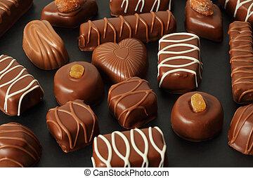 glasering, många, choklad, mörk, candys, bakgrund, ...