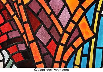 glasfenster, befleckt, -, kirche