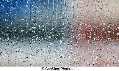 glasfenster, tropfen, regen