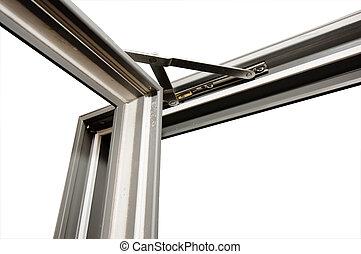 glasfiber, fönster, engelsk, yttre, öppning