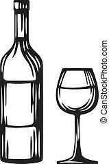 glasflaska, vin