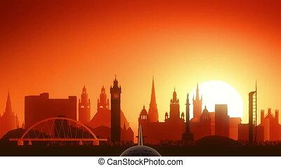 Glasgow Airplane Take Off Skyline Golden Background