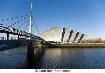 glasgow, croisement, tatou, uk., il, rivière clyde, connu, ecosse, pont, auditorium, suivant, clyde., bell's