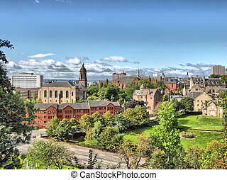 Glasgow - HDR - View of the city of Glasgow in Scotland - ...