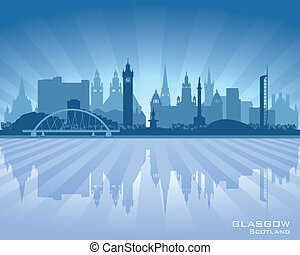 glasgow, horizon, ville, silhouette, ecosse
