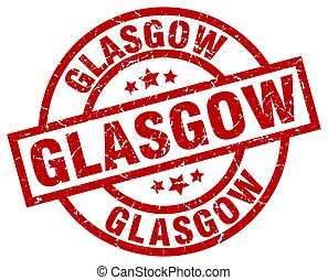 Glasgow red round grunge stamp