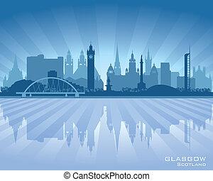 Glasgow Scotland skyline city silhouette Vector illustration