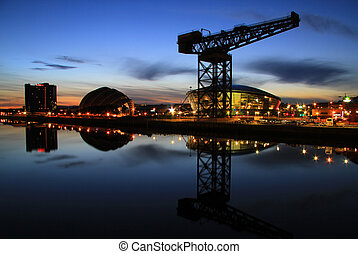 glasgow river clyde reflection at night with the new hydro buildiing