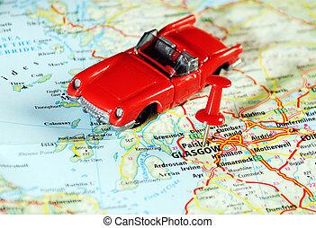 glasgow, skottland, bil, karta