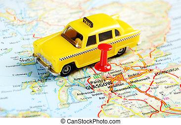 glasgow, skottland, taxi, karta