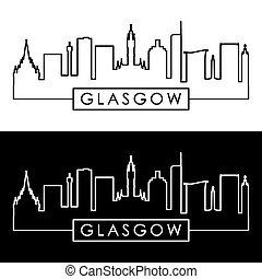 Glasgow skyline. Linear style.