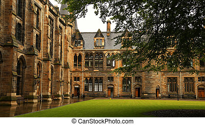 Glasgow university - Architectural detail from inner court...