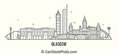glasgow, vecteur, ecosse, royaume-uni, bâtiments, horizon, ...