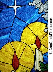 glasmalerei, kerze