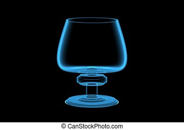 Glass 3D xray blue transparent