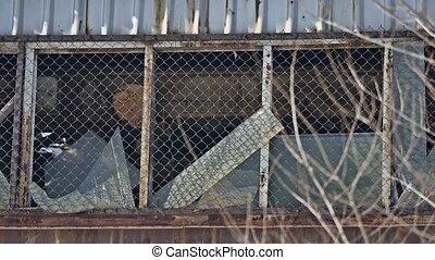 glass abandoned window warehouse factory broken. motion...