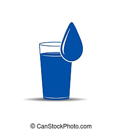 glass and a drop of water. Simple vector illustration