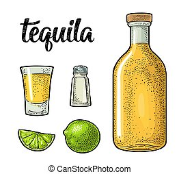 Glass and botlle of tequila. Cactus, salt, lime - Glass,...