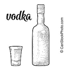 Glass and bottle. Calligraphic handwriting lettering vodka....