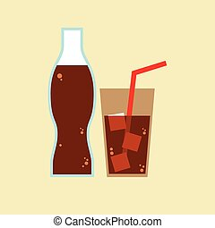 Glass and Bottle of Cola Illustration.