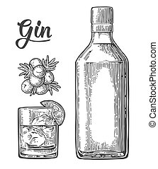 Glass and bottle of gin and branch of Juniper with berries....