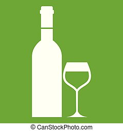 Glass and bottle of wine icon green