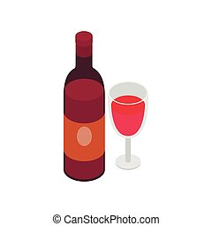 Glass and bottle of wine icon, isometric 3d style