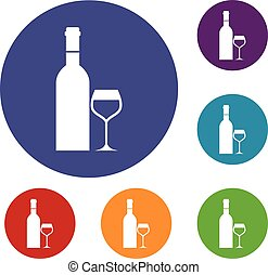 Glass and bottle of wine icons set