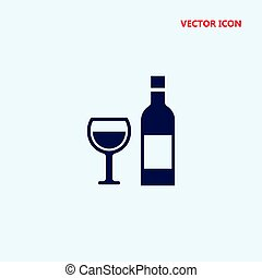 glass and bottle of wine vector icon