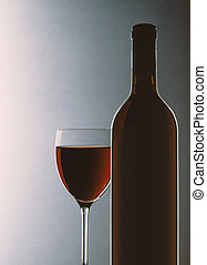 Glass and bottle - Red wine glass and bottle
