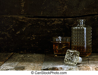 Glass and Carafe of Bourbon or Whisky with more room for ...