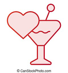 Glass and heart flat icon. Love drink pink icons in trendy flat style. Romantic toast gradient style design, designed for web and app. Eps 10.