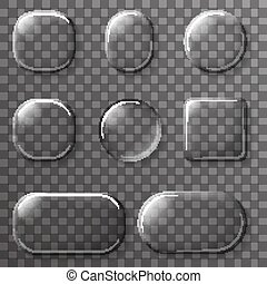 Glass App UI Buttons Icons Transparent design Elements Vector Illustration