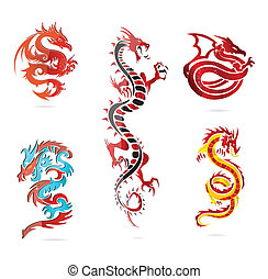glass asia hot dragon colored sign set